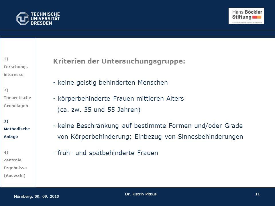 Kriterien der Untersuchungsgruppe: