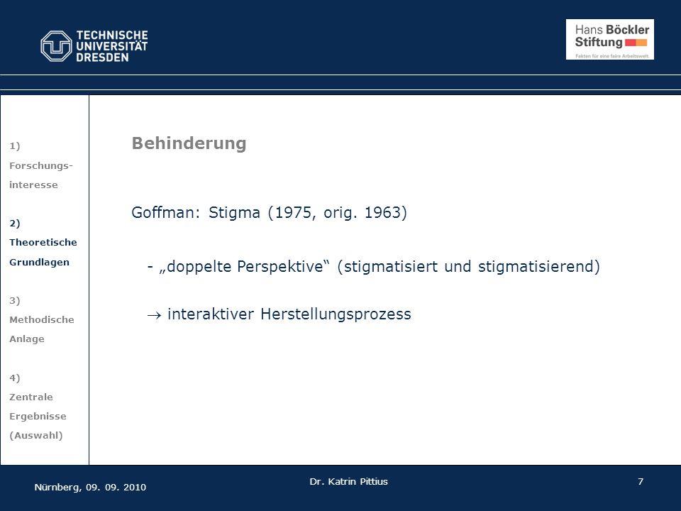 Behinderung Goffman: Stigma (1975, orig. 1963)