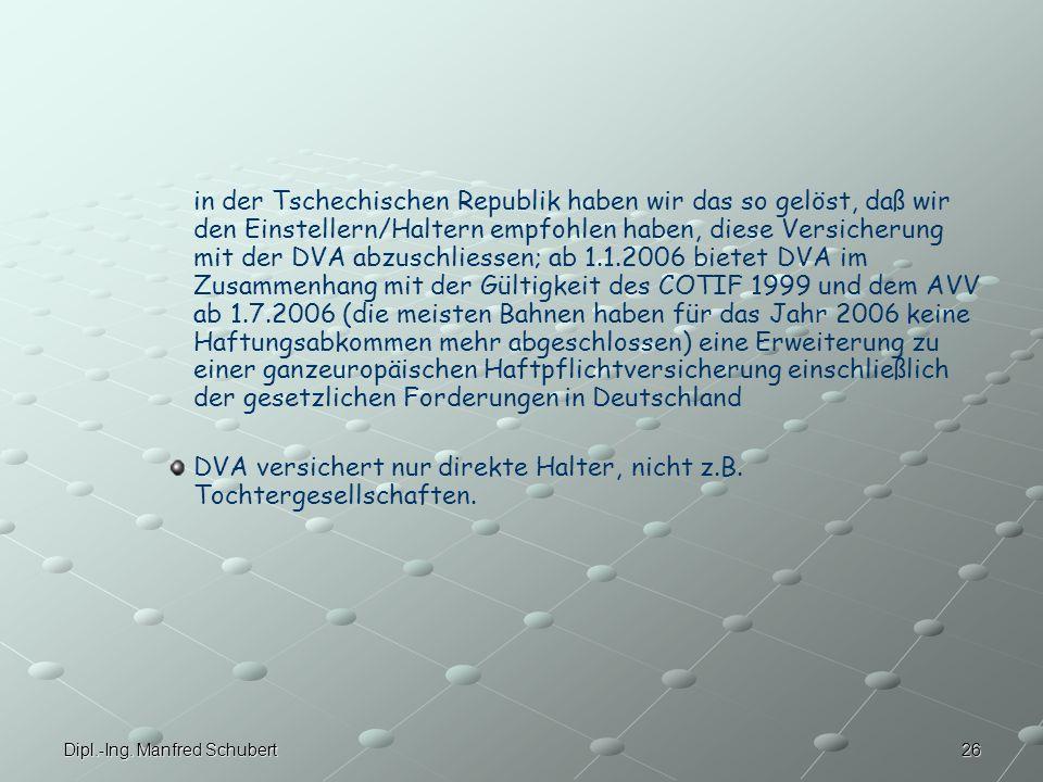 DVA versichert nur direkte Halter, nicht z.B. Tochtergesellschaften.