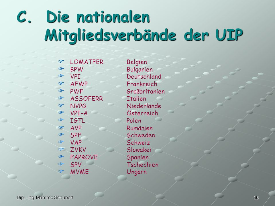 C. Die nationalen Mitgliedsverbände der UIP