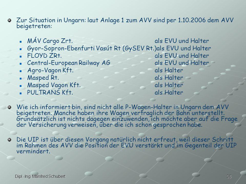 MÁV Cargo Zrt. als EVU und Halter