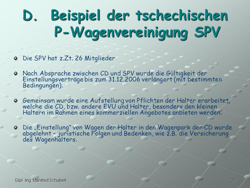 D. Beispiel der tschechischen P-Wagenvereinigung SPV