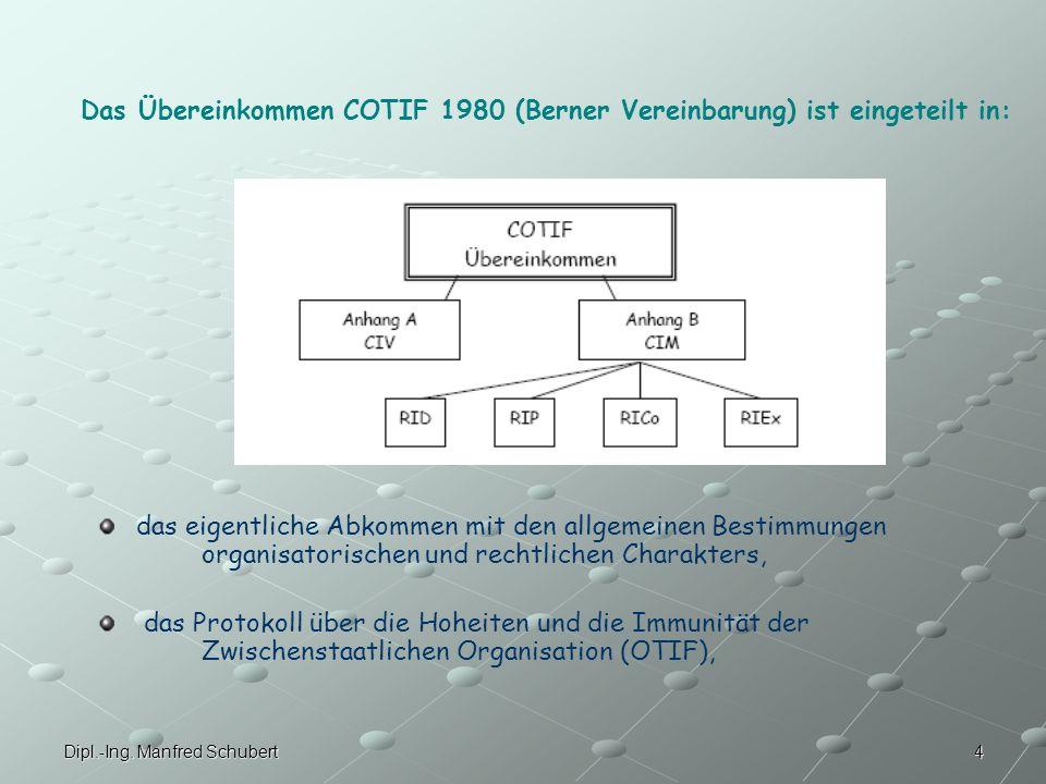 Das Übereinkommen COTIF 1980 (Berner Vereinbarung) ist eingeteilt in:
