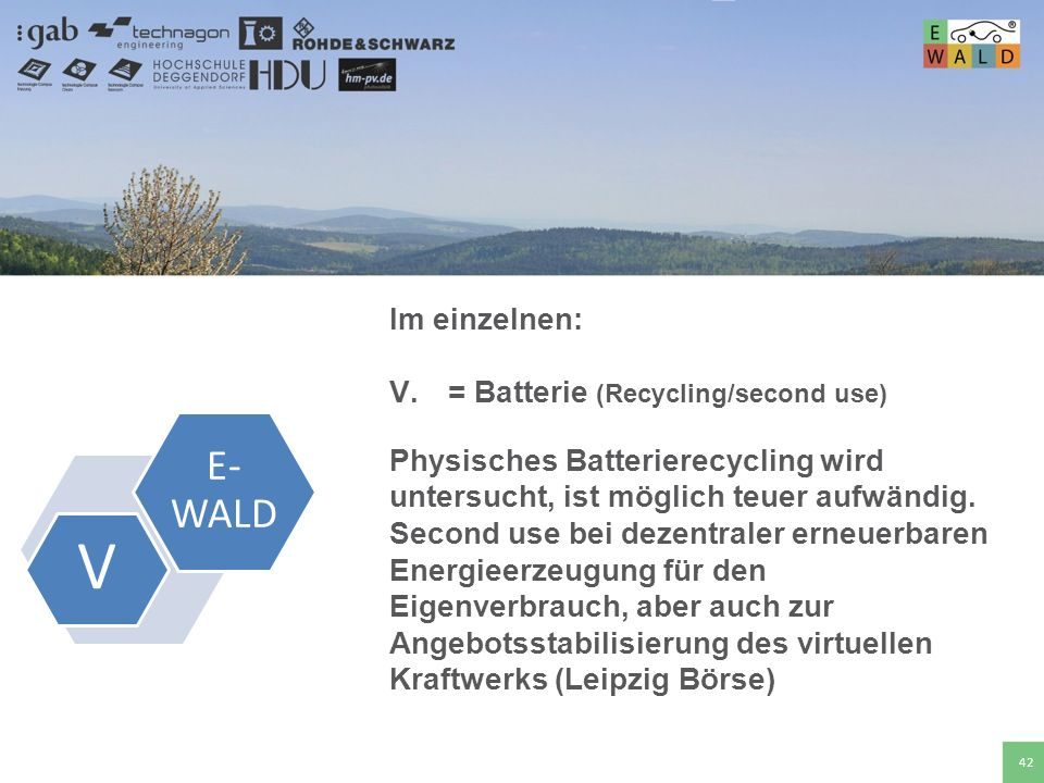 V E-WALD Im einzelnen: = Batterie (Recycling/second use)