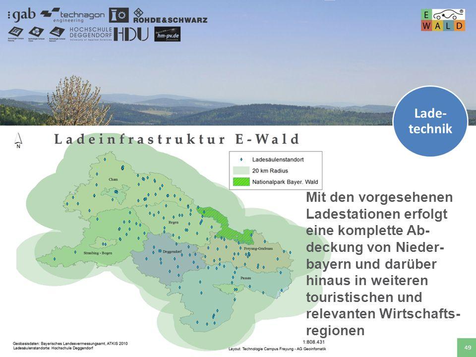 Mit den vorgesehenen Ladestationen erfolgt eine komplette Ab- deckung von Nieder- bayern und darüber hinaus in weiteren touristischen und relevanten Wirtschafts-regionen