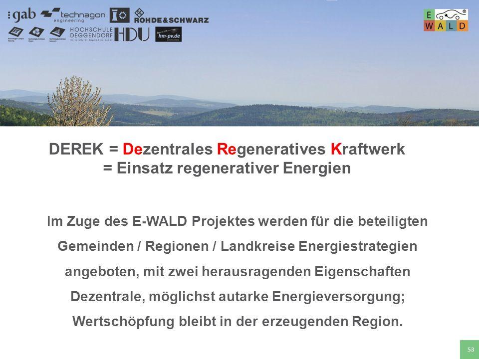 DEREK = Dezentrales Regeneratives Kraftwerk = Einsatz regenerativer Energien