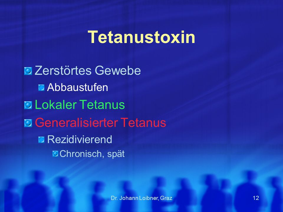 Tetanustoxin Zerstörtes Gewebe Lokaler Tetanus Generalisierter Tetanus