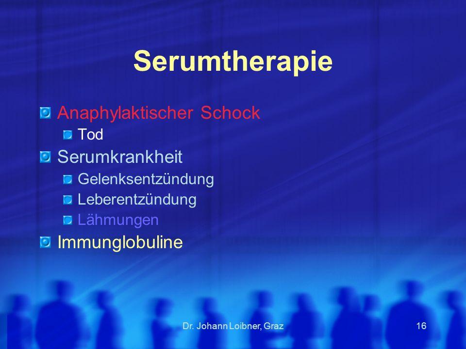 Serumtherapie Anaphylaktischer Schock Serumkrankheit Immunglobuline