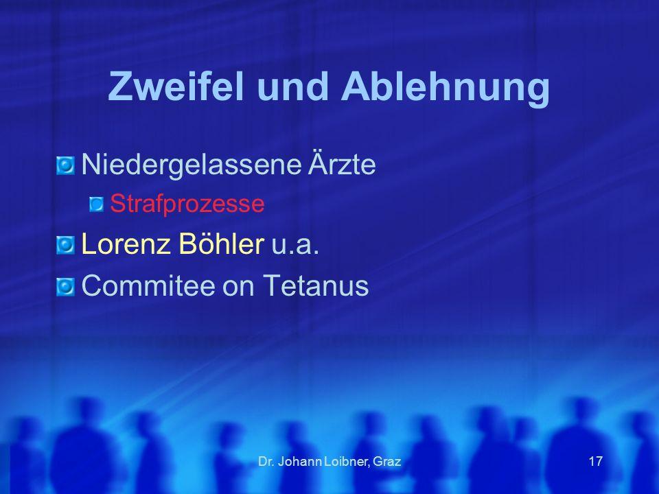 Zweifel und Ablehnung Niedergelassene Ärzte Lorenz Böhler u.a.