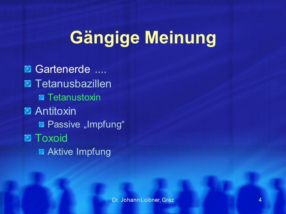Gängige Meinung Gartenerde .... Tetanusbazillen Antitoxin Toxoid