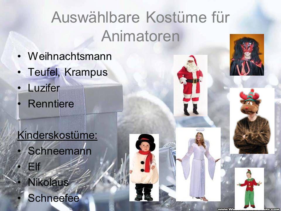 Auswählbare Kostüme für Animatoren