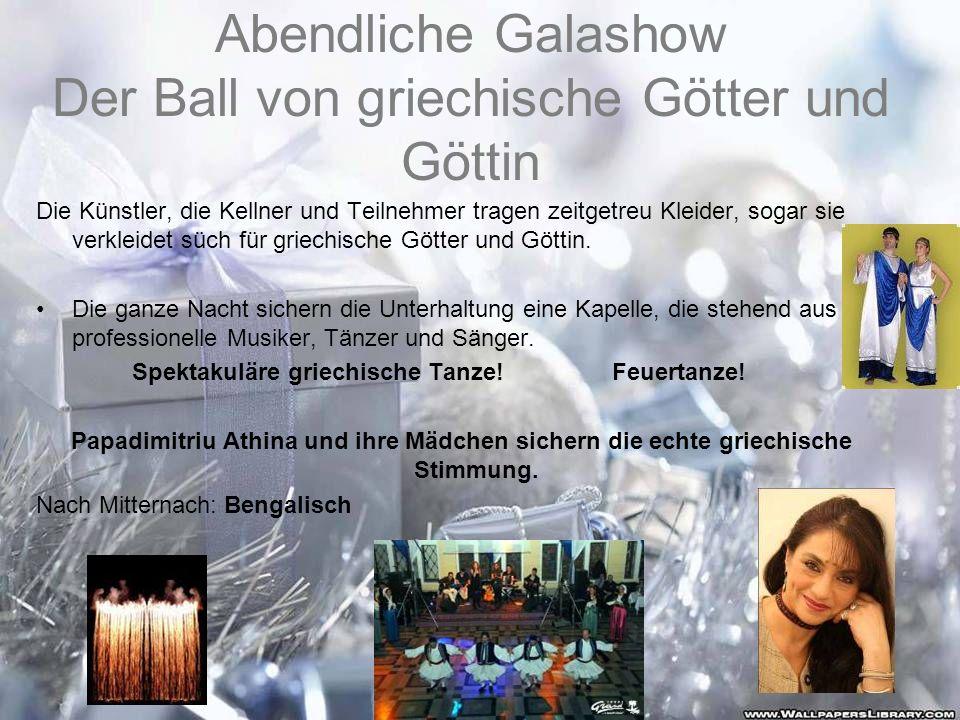 Abendliche Galashow Der Ball von griechische Götter und Göttin
