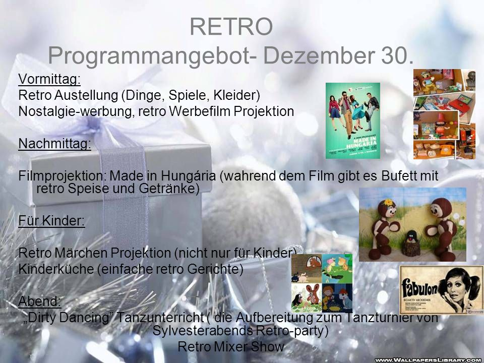 RETRO Programmangebot- Dezember 30.
