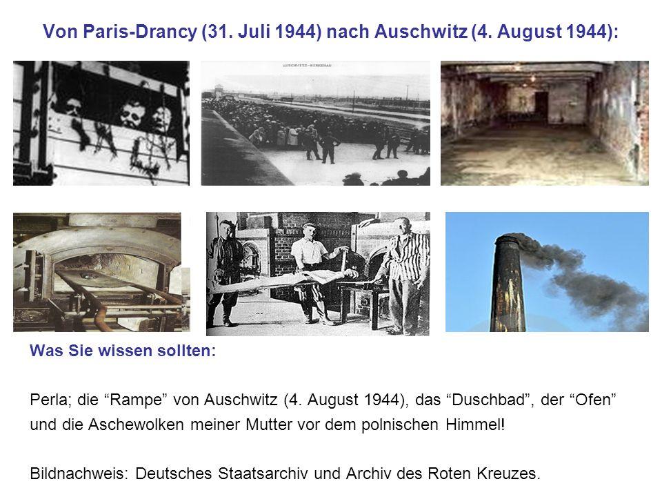 Von Paris-Drancy (31. Juli 1944) nach Auschwitz (4. August 1944):