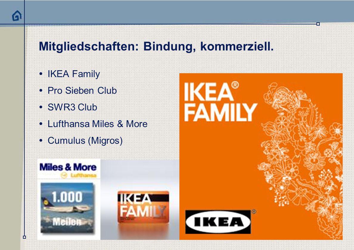 Mitgliedschaften: Bindung, kommerziell.