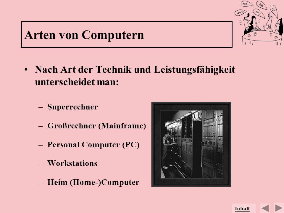 Arten von Computern Nach Art der Technik und Leistungsfähigkeit unterscheidet man: Superrechner. Großrechner (Mainframe)