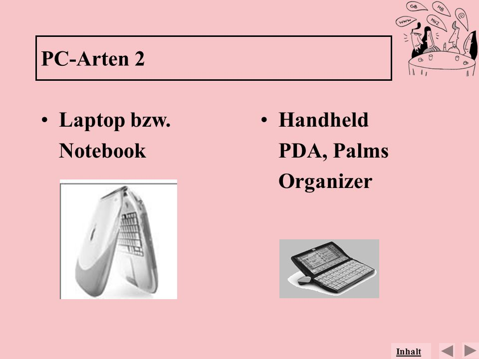 PC-Arten 2 Laptop bzw. Notebook Handheld PDA, Palms Organizer Inhalt