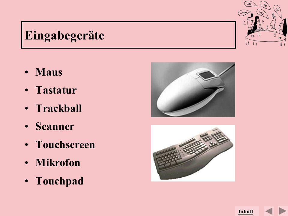 Eingabegeräte Maus Tastatur Trackball Scanner Touchscreen Mikrofon
