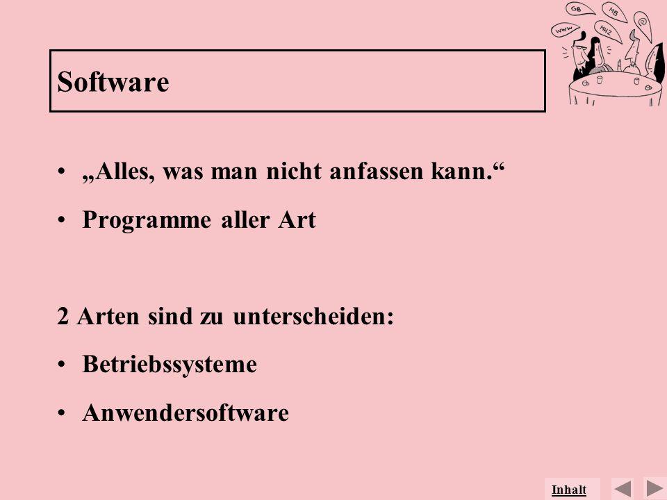 """Software """"Alles, was man nicht anfassen kann. Programme aller Art"""