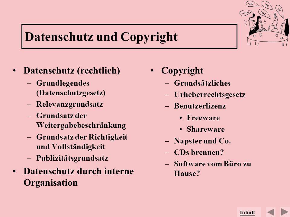 Datenschutz und Copyright