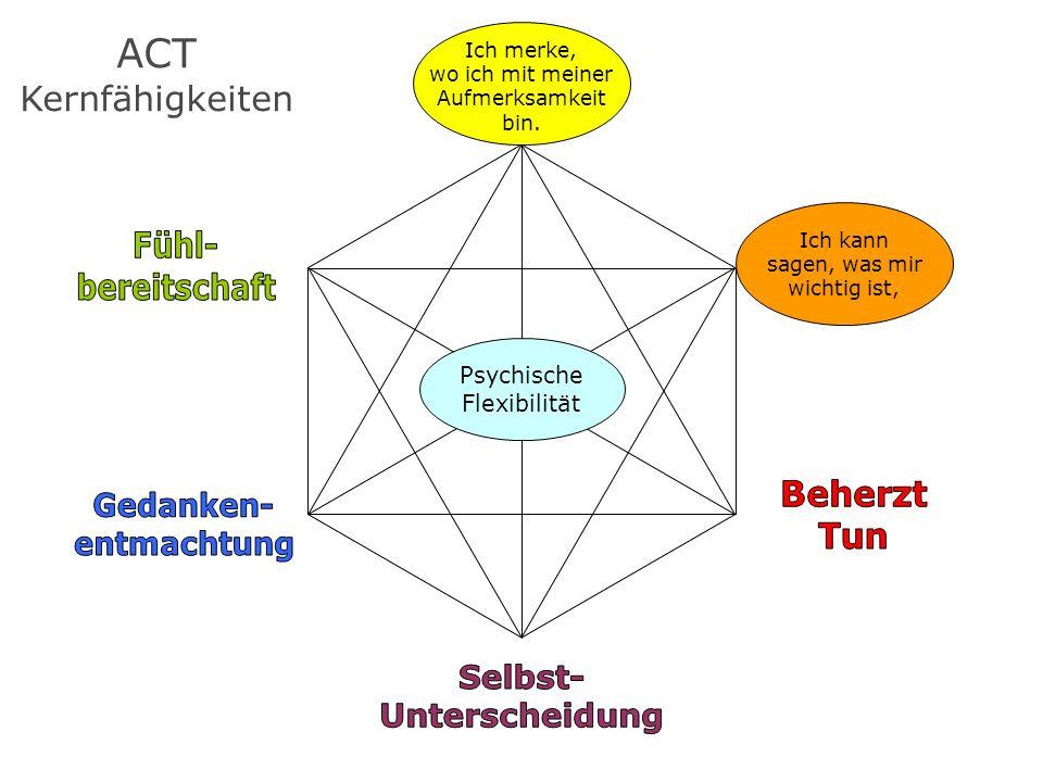ACT Kernfähigkeiten Fühl- bereitschaft Wichtig- keiten Beherzt Tun