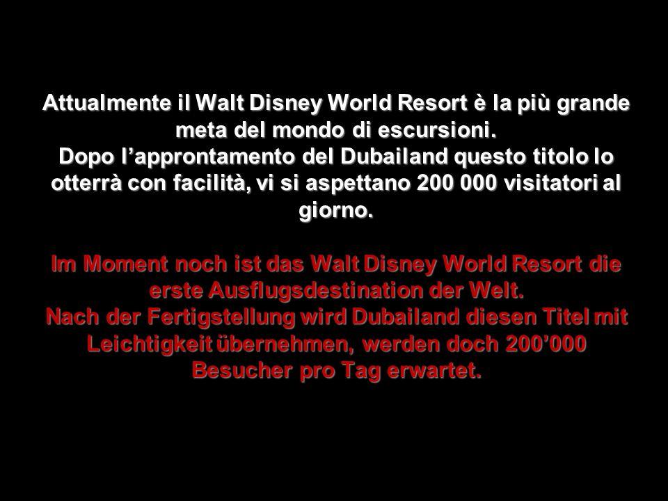 Attualmente il Walt Disney World Resort è la più grande meta del mondo di escursioni.