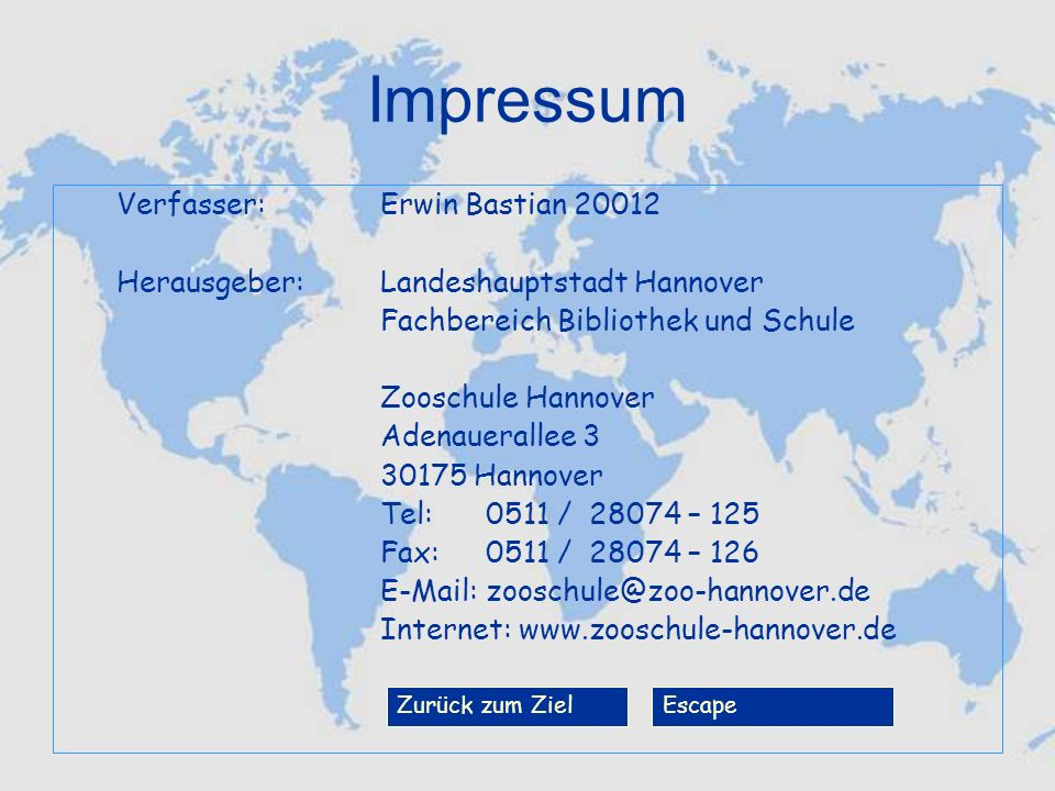 Impressum Verfasser: Erwin Bastian 20012