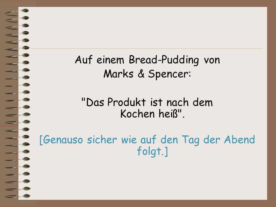 Auf einem Bread-Pudding von Marks & Spencer: