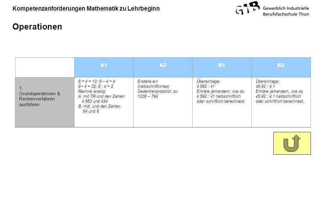 Kompetenzanforderungen Mathematik zu Lehrbeginn