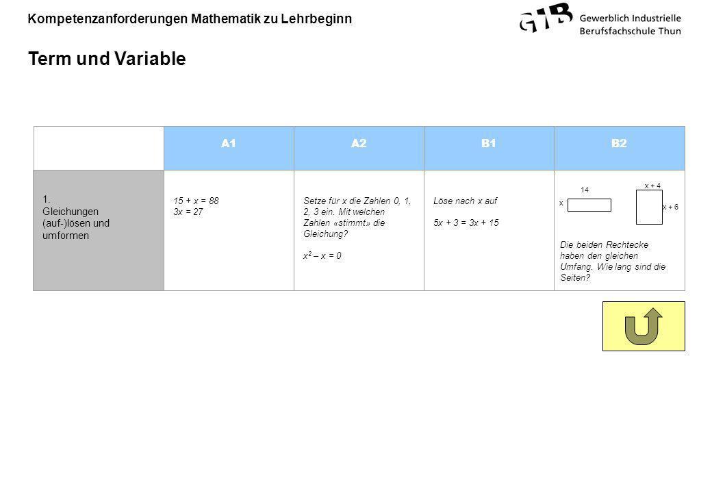 Term und Variable A1 A2 B1 B2 1. Gleichungen (auf-)lösen und umformen