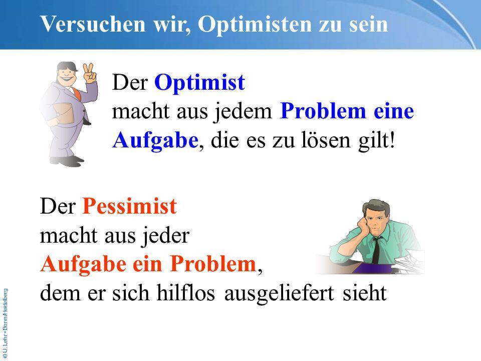 Versuchen wir, Optimisten zu sein
