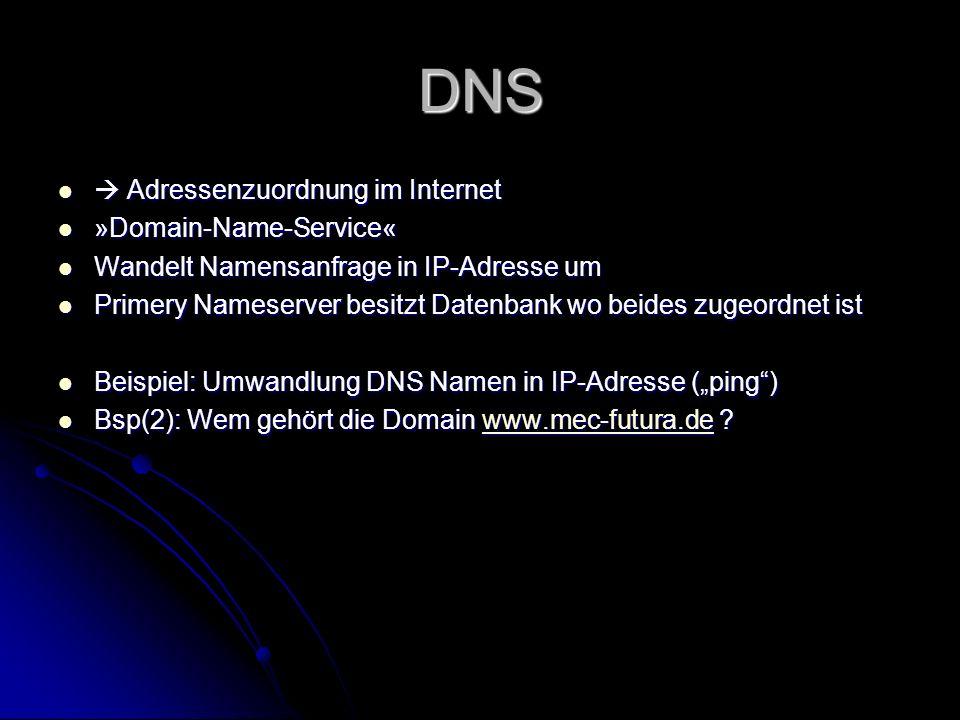 DNS  Adressenzuordnung im Internet »Domain-Name-Service«