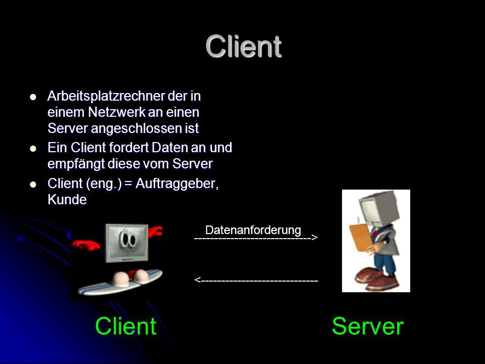 Client Arbeitsplatzrechner der in einem Netzwerk an einen Server angeschlossen ist. Ein Client fordert Daten an und empfängt diese vom Server.