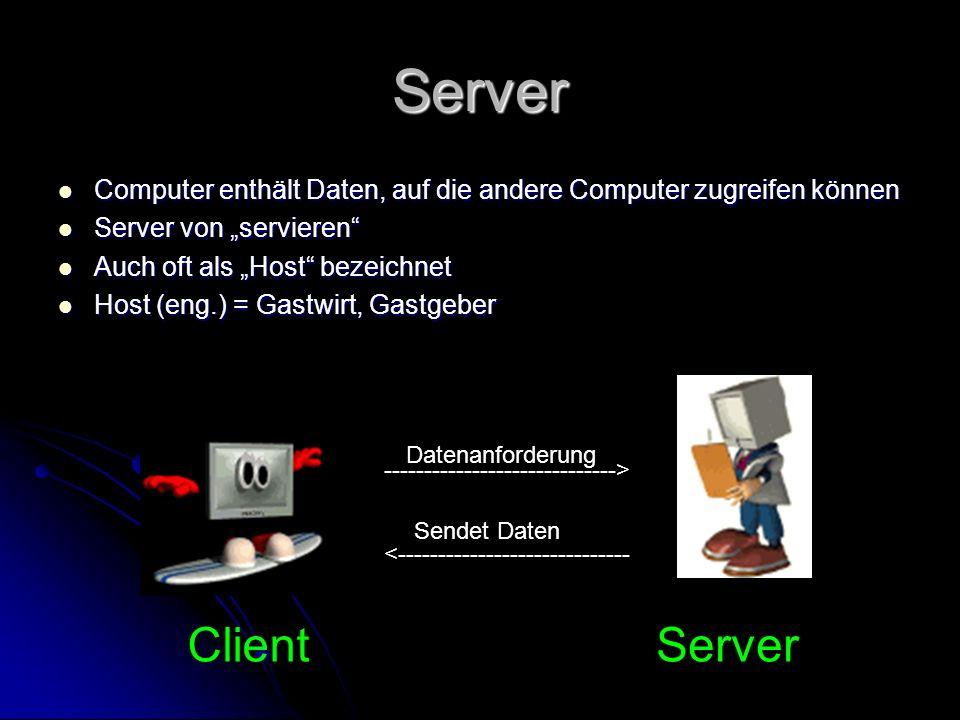 """Server Computer enthält Daten, auf die andere Computer zugreifen können. Server von """"servieren Auch oft als """"Host bezeichnet."""