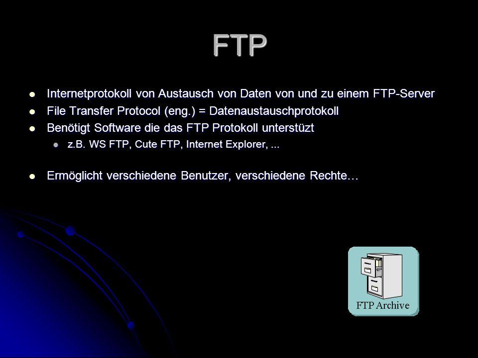 FTP Internetprotokoll von Austausch von Daten von und zu einem FTP-Server. File Transfer Protocol (eng.) = Datenaustauschprotokoll.