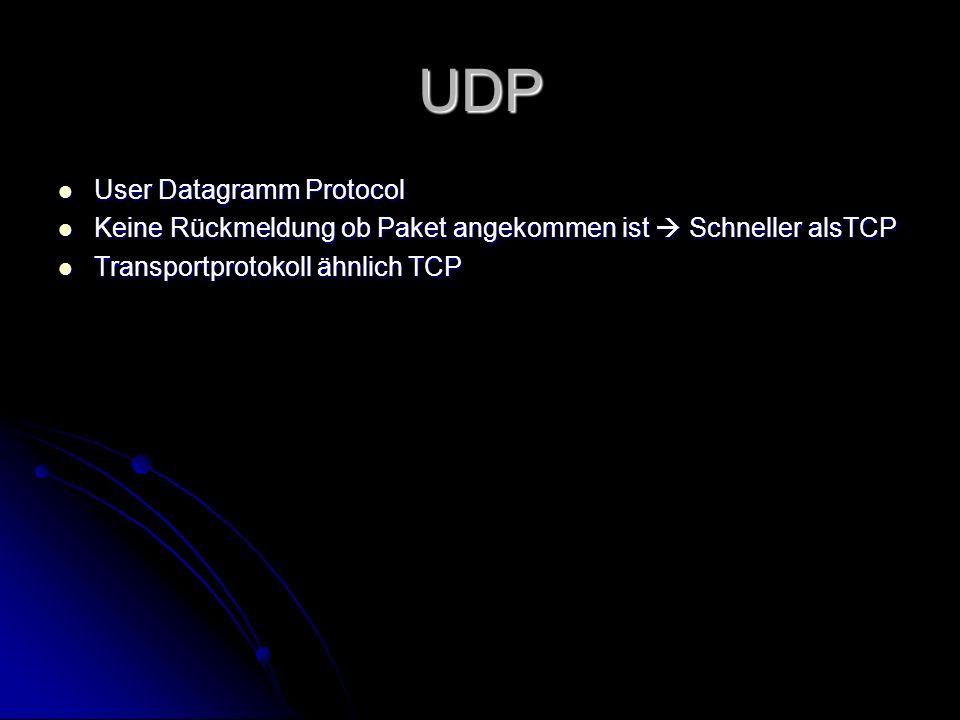 UDP User Datagramm Protocol