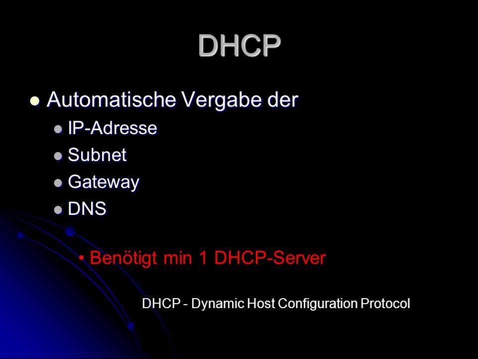DHCP Automatische Vergabe der IP-Adresse Subnet Gateway DNS
