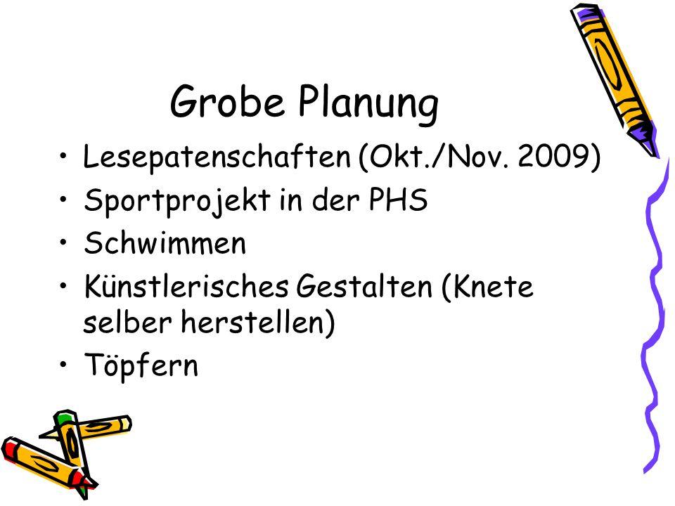 Grobe Planung Lesepatenschaften (Okt./Nov. 2009)