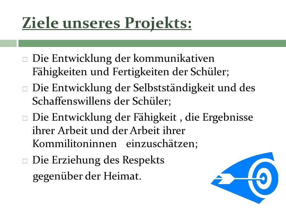 Ziele unseres Projekts: