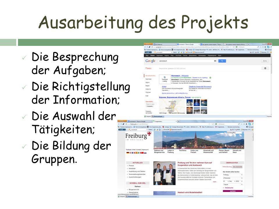 Ausarbeitung des Projekts