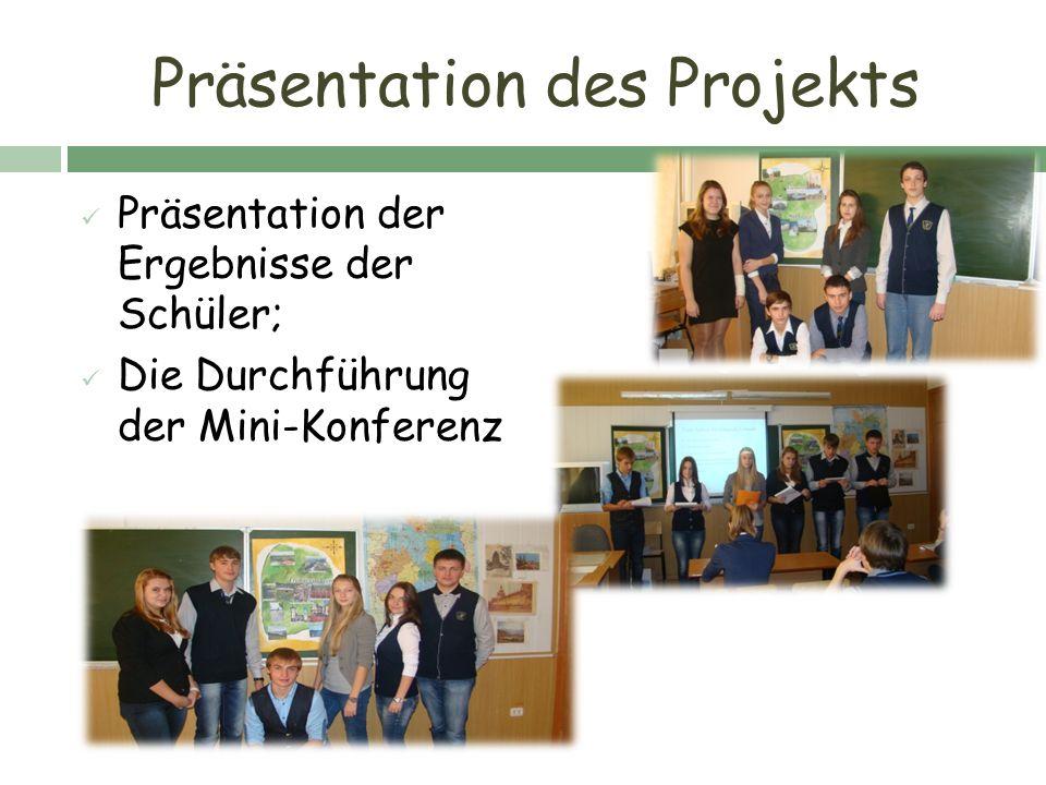 Präsentation des Projekts