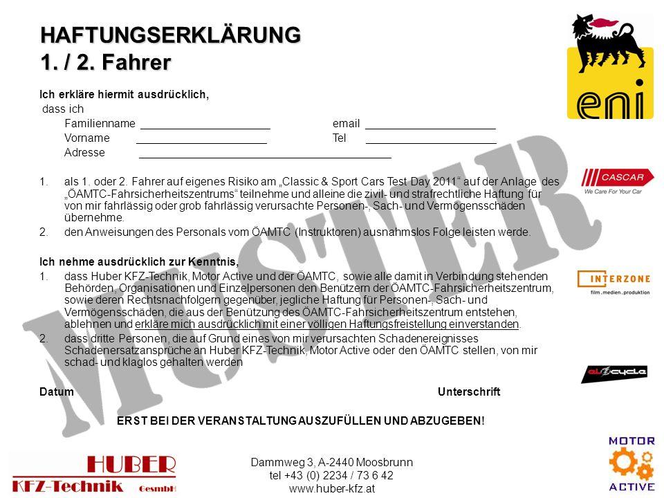 HAFTUNGSERKLÄRUNG 1. / 2. Fahrer
