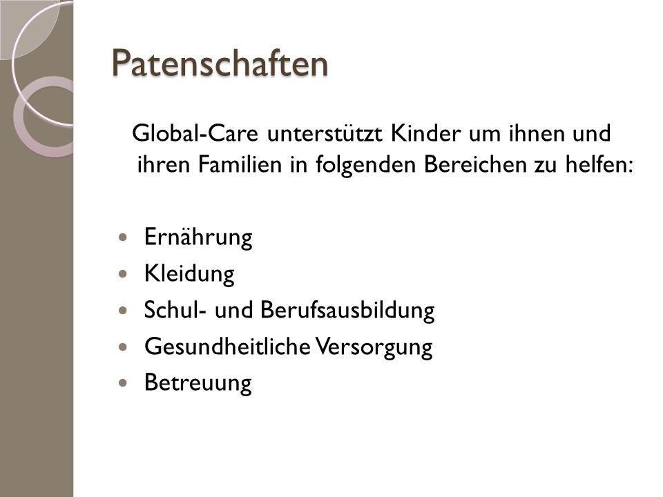 Patenschaften Global-Care unterstützt Kinder um ihnen und ihren Familien in folgenden Bereichen zu helfen: