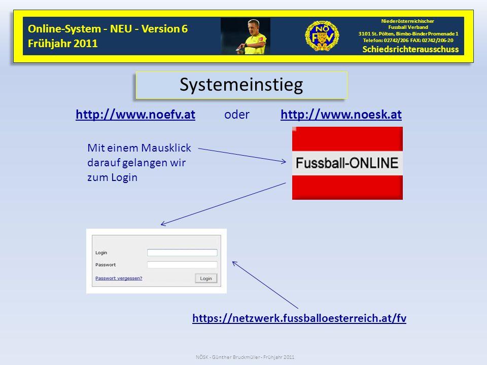 Systemeinstieg http://www.noefv.at oder http://www.noesk.at