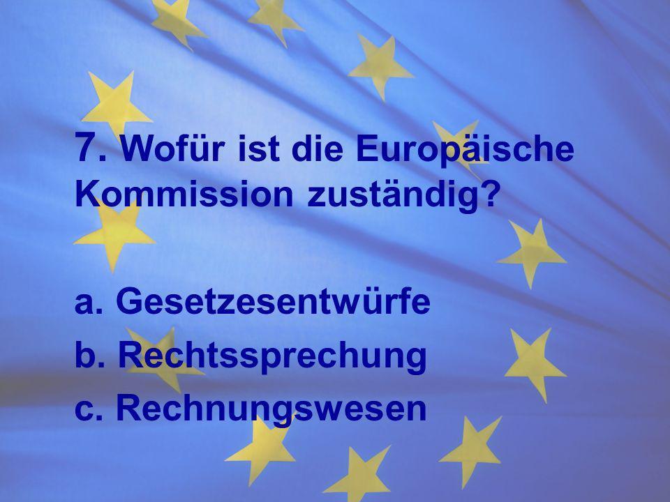 7. Wofür ist die Europäische Kommission zuständig