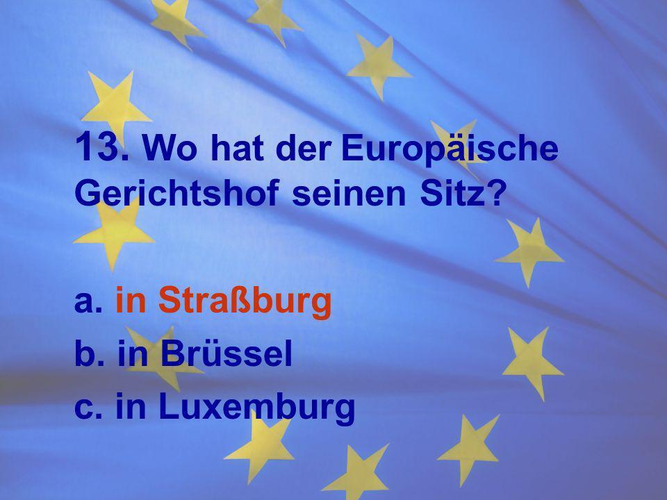 13. Wo hat der Europäische Gerichtshof seinen Sitz