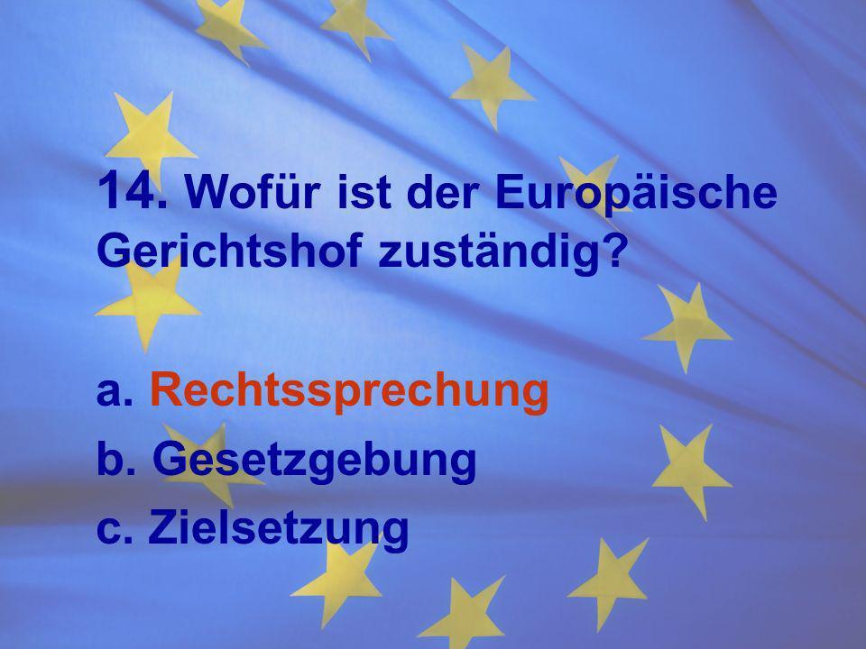 14. Wofür ist der Europäische Gerichtshof zuständig