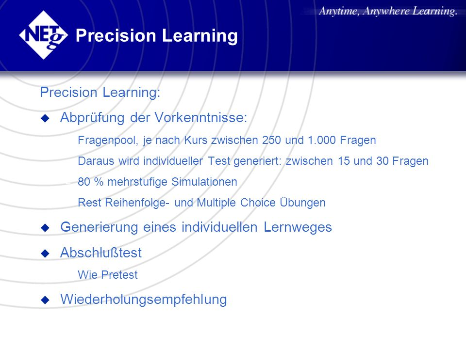 Precision Learning Precision Learning: Abprüfung der Vorkenntnisse: