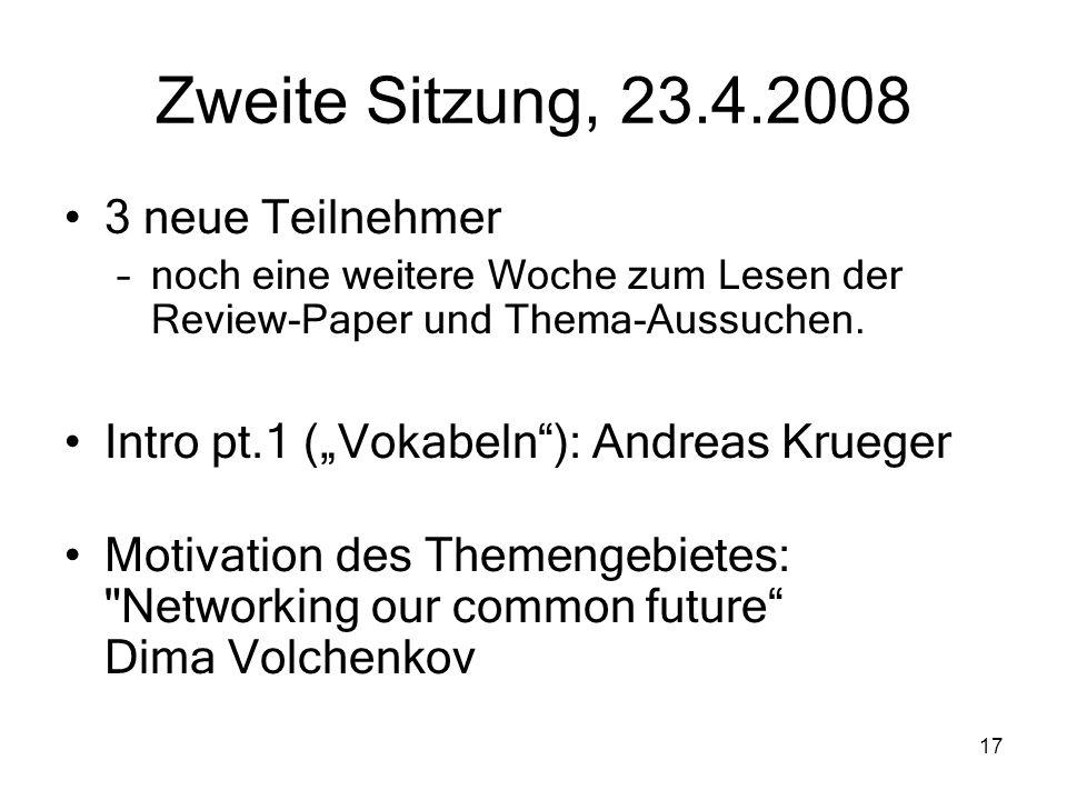 Zweite Sitzung, 23.4.2008 3 neue Teilnehmer