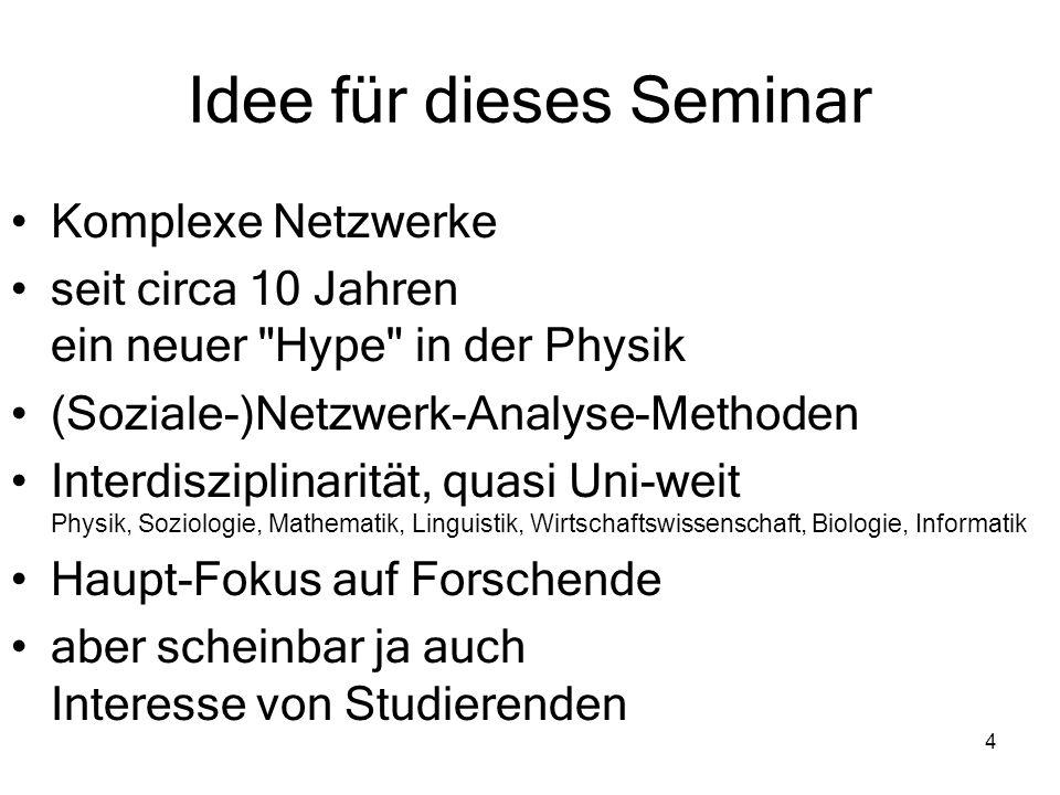 Idee für dieses Seminar